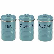 kitchen canisters and jars tea coffee sugar canister set blue vintage style kitchen jars