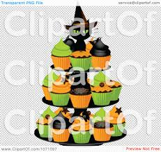 free halloween clip art transparent background clipart 3d black witch cat on a halloween cupcake stand royalty