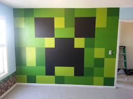 minecraft bedroom ideas minecraft bedroom painted creeper wall minecraft bedroom