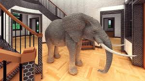 elephant in the living room elephant in the living room 3d rendering stock illustration