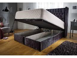 queen anne otttoman storage fabric bed frame