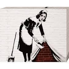 femme de chambre x banksy poster reproduction sur toile tendue sur châssis femme de
