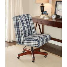 linon home decor draper blue plaid office chair 178404bpld01u