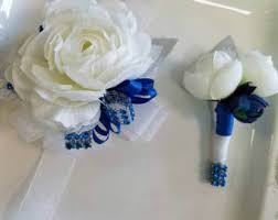 royal blue corsage wrist corsage turquoise blue wrist corsage and matching