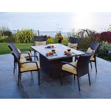 All Weather Wicker Patio Dining Sets - south beach 7 piece all weather wicker fire dining set youtube