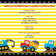 boys construction truck birthday invitation construction