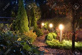 Garden Patio Lighting Illuminated Home Garden Path Patio Lights And Plants In Evening
