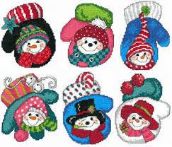 imaginating snowman mitten ornaments cross stitch pattern