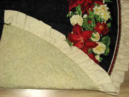 Poinsettia Christmas Tree Skirt Holiday Treasures Lilly Flowers Handmade Fabric Christmas Tree