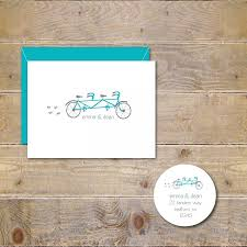wedding thank you cards tandem bicycle tandem bike wedding