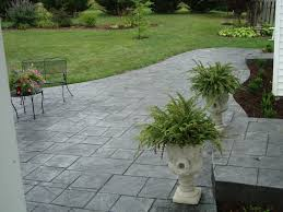 Patio Concrete Tiles Lanai Paver Stamped Concrete Larger Tile Pattern In Pewter With