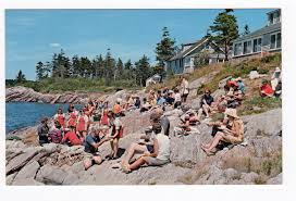 Rock Garden Inn Maine Chrome Postcard Lobster Picnic Rock Gardens Inn Sebasco Estates