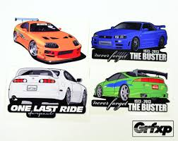 paul walker car collection fast and furious stickers u2013 tagged