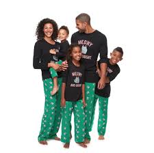 cat pajamas matching family pajamas popsugar