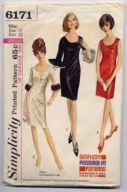 vintage 60s mod slim cocktail dress sewing pattern sleeveless or