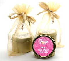 candle baby shower favors she s ready to pop pink gold tin candle favors candles favors