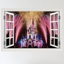 disney wall stickers wall art kids disney castle open window effect wall sticker
