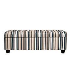 amazon com striped vintage deep blue stripe storage bench ottoman