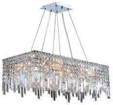 Rectangle Chandeliers Cascade 16 Light Chrome Finish 28 Rectangle Chandelier