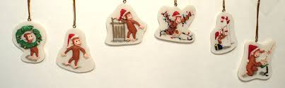curious george ornaments set of 6 home kitchen