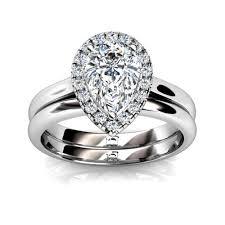 Pear Shaped Wedding Ring palladium pear shape diamond halo wedding set union diamond
