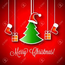 merry christmas vector illustration green xmas tree little