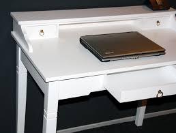 Schreibtisch Schmal Holz Sekretär 100x91x57cm 1 2 Schubladen Pappel Massiv Weiß Lackiert