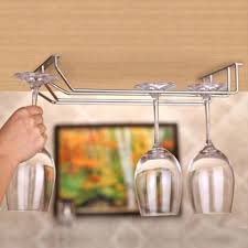 rows stainless steel glass rack red wine glass cup hanger holder