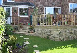 purbeck stone wall and deck