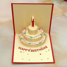 3d greeting cards birthday cake three color greeting card creative