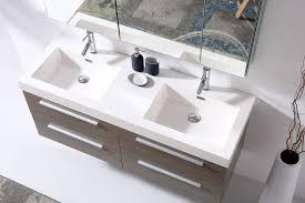 54 Bathroom Vanity Double Sink 54 Inch Double Sink Floating Bathroom Vanity Grey Oak Finish With
