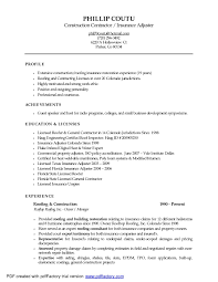 Contractor Resume Sample Claims Adjuster Resume Resume Cv Cover Letter