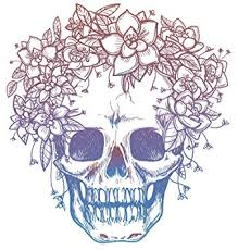 amazon com pink blue ombre skull with flower crown drawing vinyl