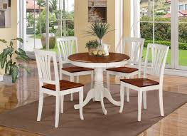 5 pc round small table kitchen table and 4 wood chairs buttermilk