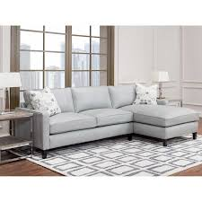 griffith top grain leather sectional gray living game room