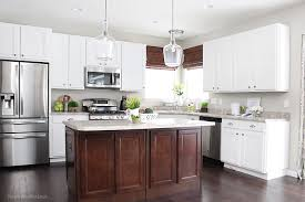 kitchen with black island and white cabinets bar stool ideas how to nest for less