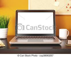 ordinateur portable ou de bureau bureau mockup ordinateur portable screen vide 3d
