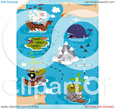 Treasure Map Clipart Royalty Free Rf Clipart Illustration Of A Treasure Map With A