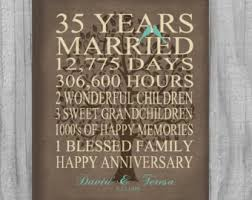 35 year anniversary gift 35th year anniversary gift rustic burlap look personalized with