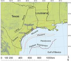houston fault map regional map showing the northwestern gulf of mexico dashed