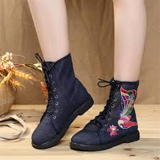 womens boots peacocks autumn winter peacock embroidered casual canvas ankle