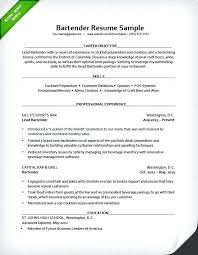 Examples Of Server Resumes Server Resume Objective Samples Example Bartender Resume Server