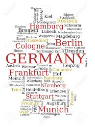 Map Germany by Germany Outline Map Made Of City Names German Concept Royalty