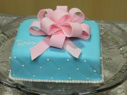 simple blue square cake with bow cakecentral com