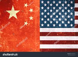 China Flags Usa China Flags Vintageretro Flag Concept Stock Illustration