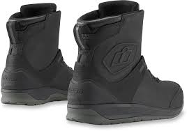 black motorcycle boots mens icon black mid calf leather patrol 2 motorcycle riding street