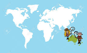 Oceania Blank Map by Diversity People Concept World Map Couple Cartoon Over Oceania