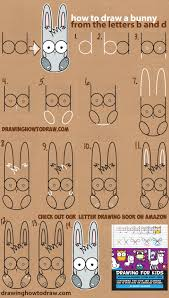 how to draw a cute cartoon bunny using lowercase letters b and d