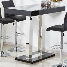 Glass Bar Table And Stools Caprice Glass Bar Table In Black High Gloss And Stainless