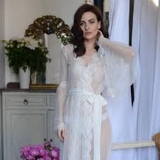 wedding sleepwear lace trimmed tulle bridal robe f10 nightdress bridal
